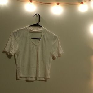 White low cut crop top
